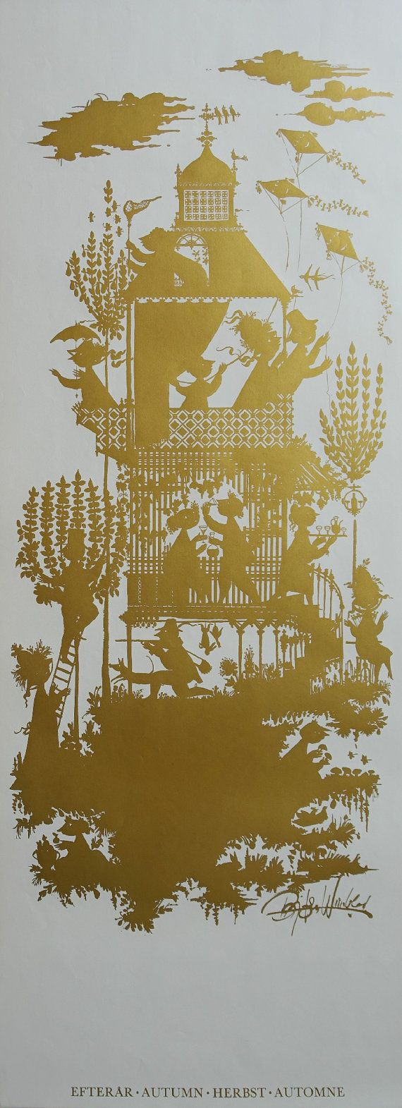 "1960s Bjørn Wiinblad ""Autumn"" (Golden edition) - Original Vintage Poster"
