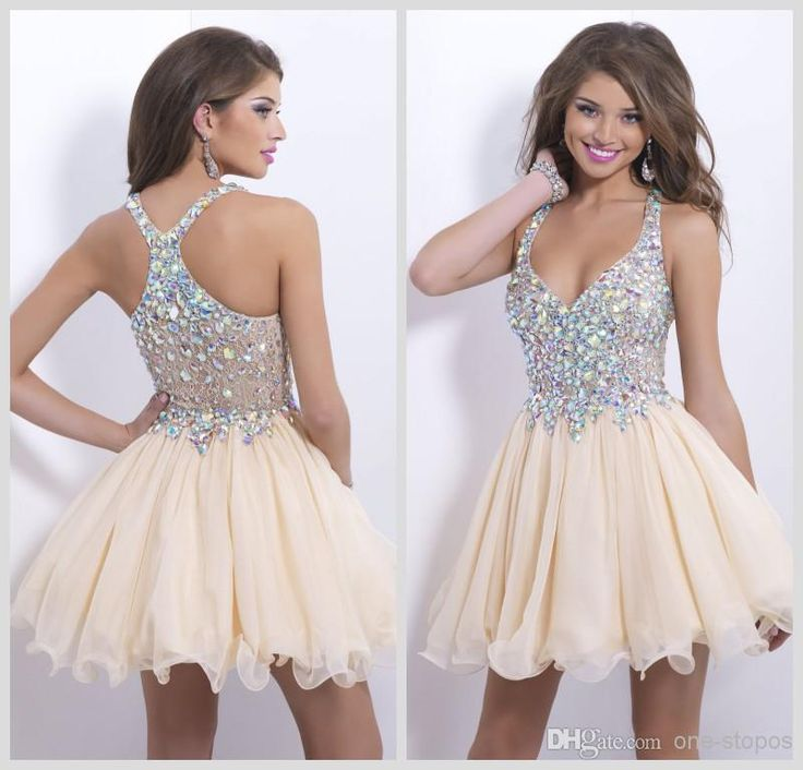 Cheap Blush Homecoming Dresses - Discount 2014 Champagne Homecoming Dresses Sweetheart Chiffon Sheer Rhinestone Online with $107.44/Piece | DHgate
