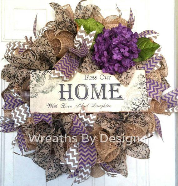 Home , wreaths burlap wreath, flowers, Chevron https://www.etsy.com/listing/245554761/bless-our-home-wreath-burlap-wreath