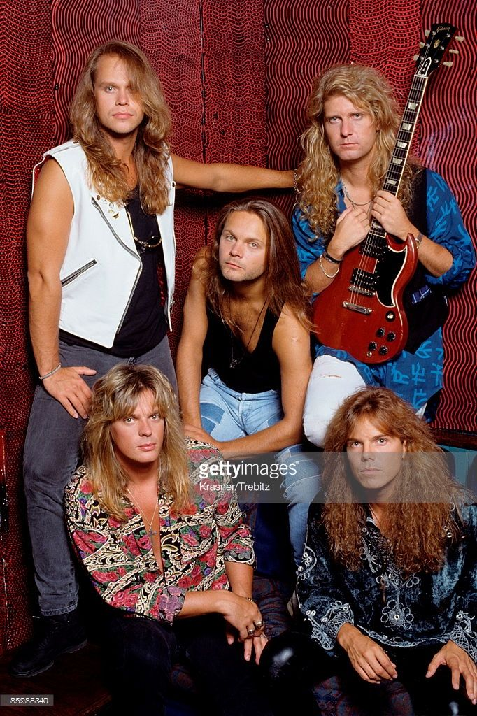 The Rock Band Europe posed in New York 1991. Clockwise from top left Ian Haugland (drums) Kee Marcello (guitar) Joey Tempest (vocals) John Leven (bass) centre, Mic Michaeli