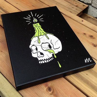 Skull and candle illustration on canvas