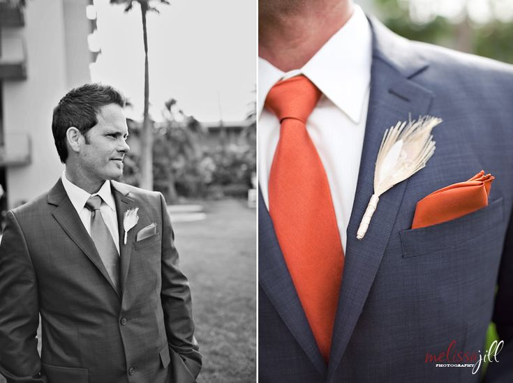 Wedding Photography Blog   Melissa Jill Photography    Navy suit. I'd have him get a peach tie and square instead of orange