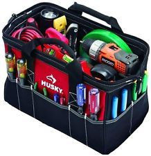 Husky Electrician Contractor 15 In. Zipper Tool Bag Storage Organizer Tote