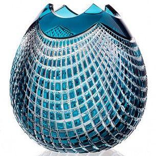 czech glass vase azure
