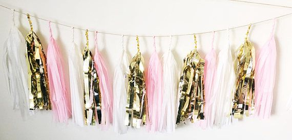 Blush Pink White and Gold Tissue Paper Tassel Garland/Pom