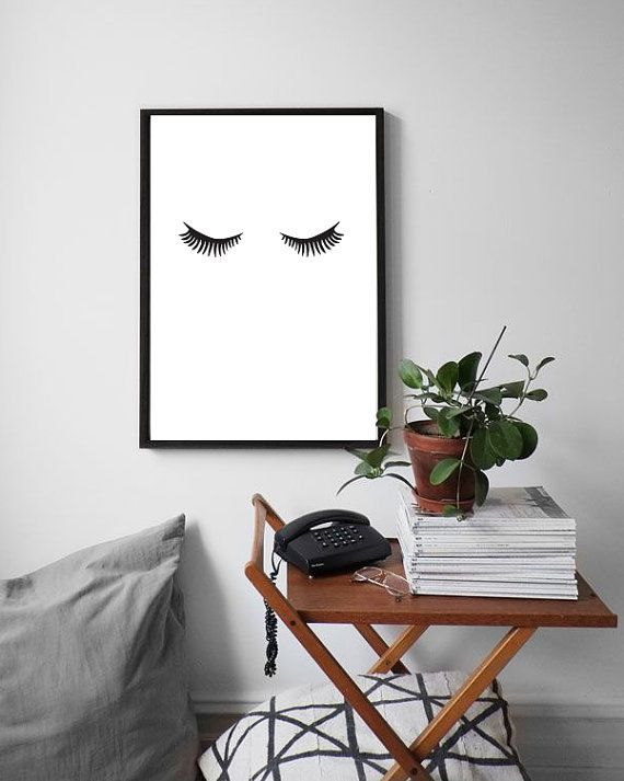 Minimalist poster lashes makeup print fashion print for Minimalist wall decor
