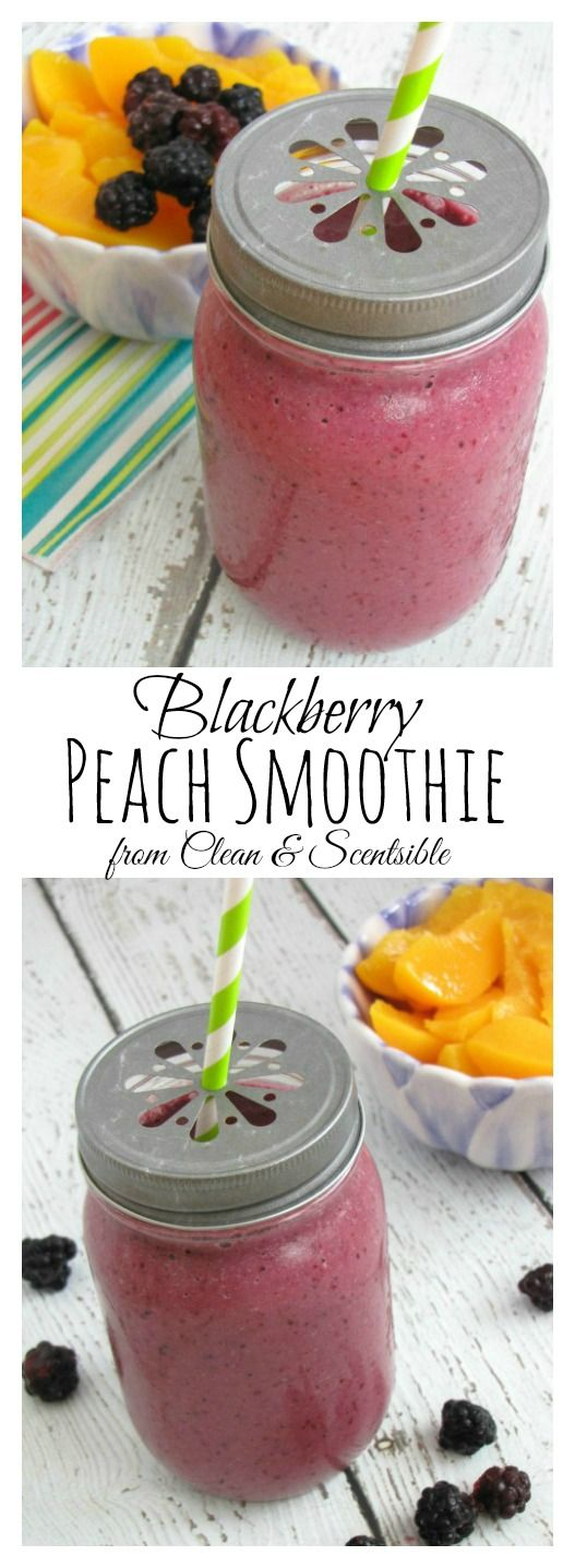 Blackberry Peach Smoothie.  Thick, creamy and packed with nutrients!