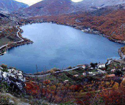 Heart shaped magic lake:  Lago di Scanno Abruzzo, L'Aquila
