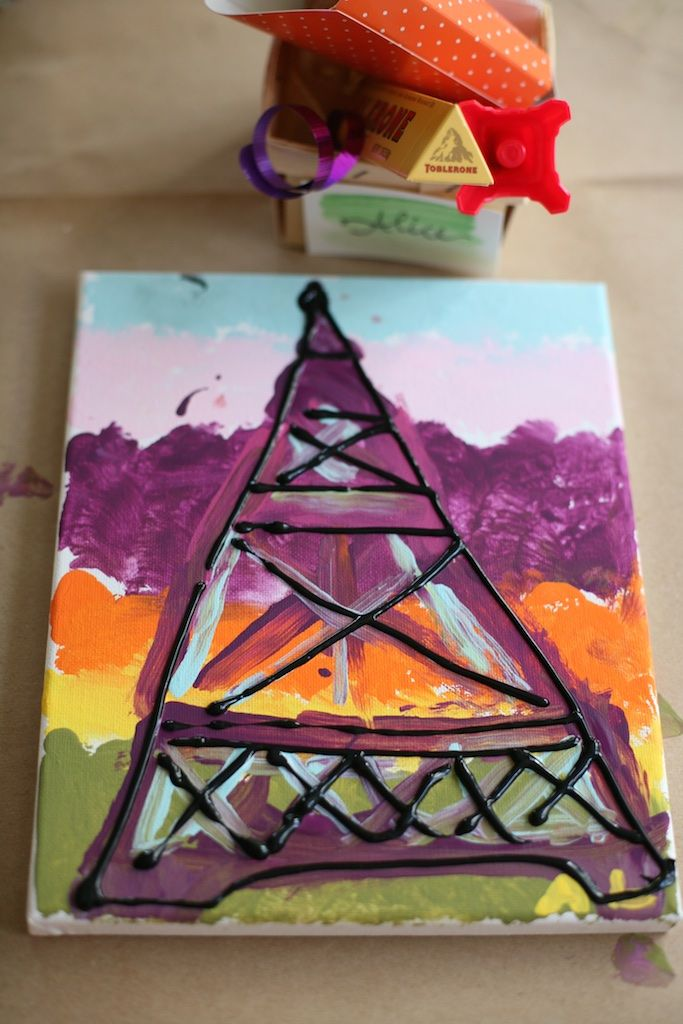 Paris Party for kids- tutorial for an Eiffel Tower painting craft that they can bring home and display when finished