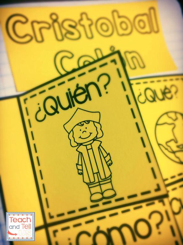 Christopher Columbus Unit in Spanish - Cristobal Colon con hoja de cuaderno interactivo