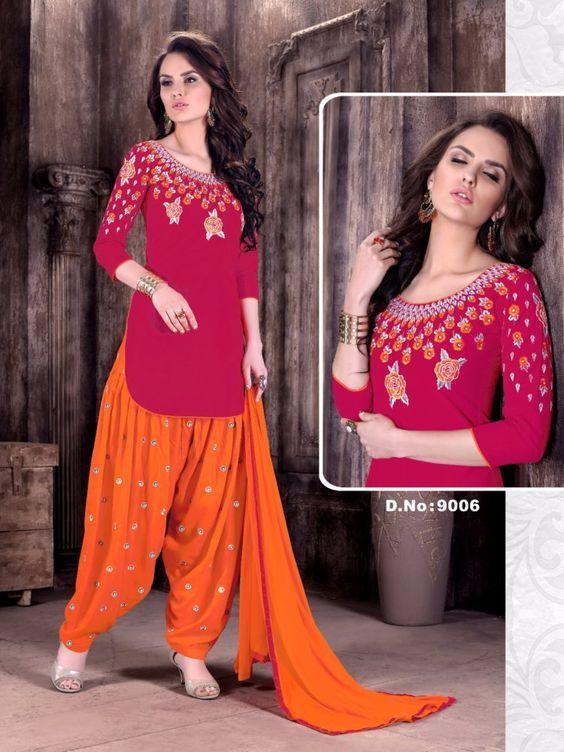 Click On Bazaar Red and Orange Color Cambric Cotton Patiala Salwar Suit - ClickOnBazar #onlinepatiala #designerpatialasalwar #patialasalwarsuits #designerpatialasalwar #clickonbazaarpatialasuits