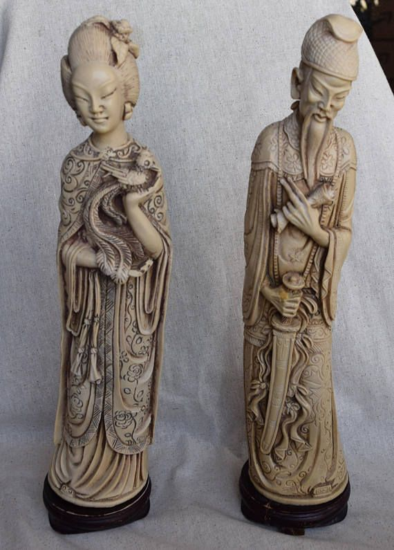 Chinese Asian Immortal Statues He Xiangu Lu Dongbin Asian Decor