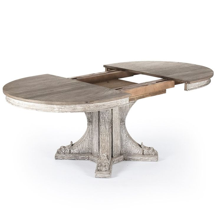 """The Terrell dining table delivers rustic charm to modern dining rooms and kitchens. This beautiful wooden table features a distressed gray finish and a sturdy four-point base for striking style. 58.25""""W x 24.25""""D x 30.75""""H. Extended: 78.75""""W x 47.25""""D x 30.75""""H. Apron to floor: 27""""H. Seats up to 8. Leaf included. Wipe down with soft, dry cloth to clean. Natural, slight variations in color are to be expected."""