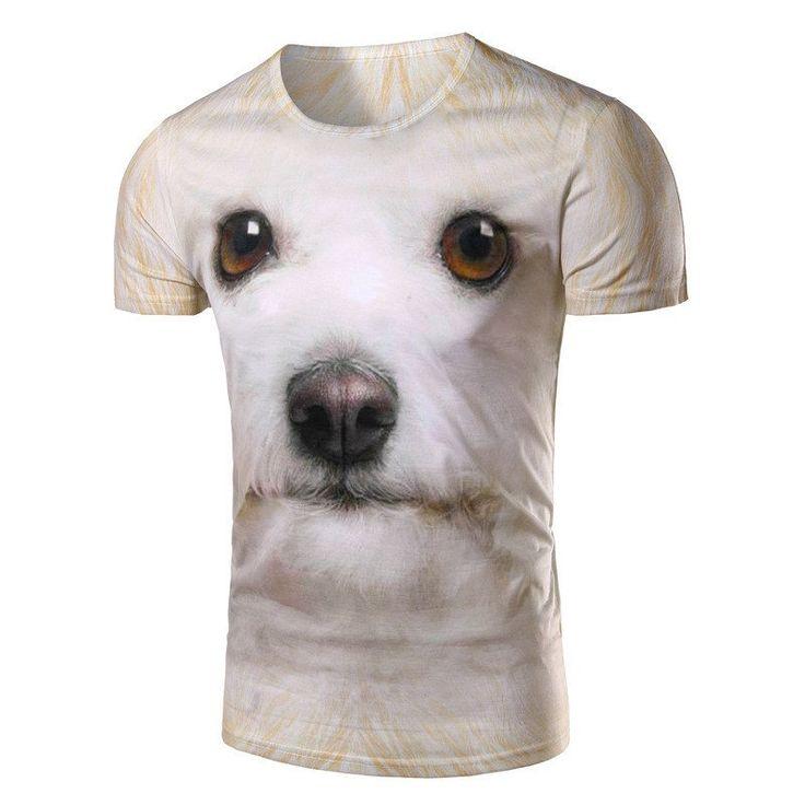 Men T Shirt Dog Pattern Fashion 3D Print Short Sleeve T-shirt Casual Slim Men Tops Tees O-neck Men t shirt