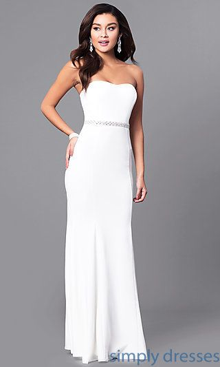 Shop jeweled-waist ivory white prom dresses at Simply Dresses. Cheap formal evening dresses under $100 with strapless sweetheart bodices.