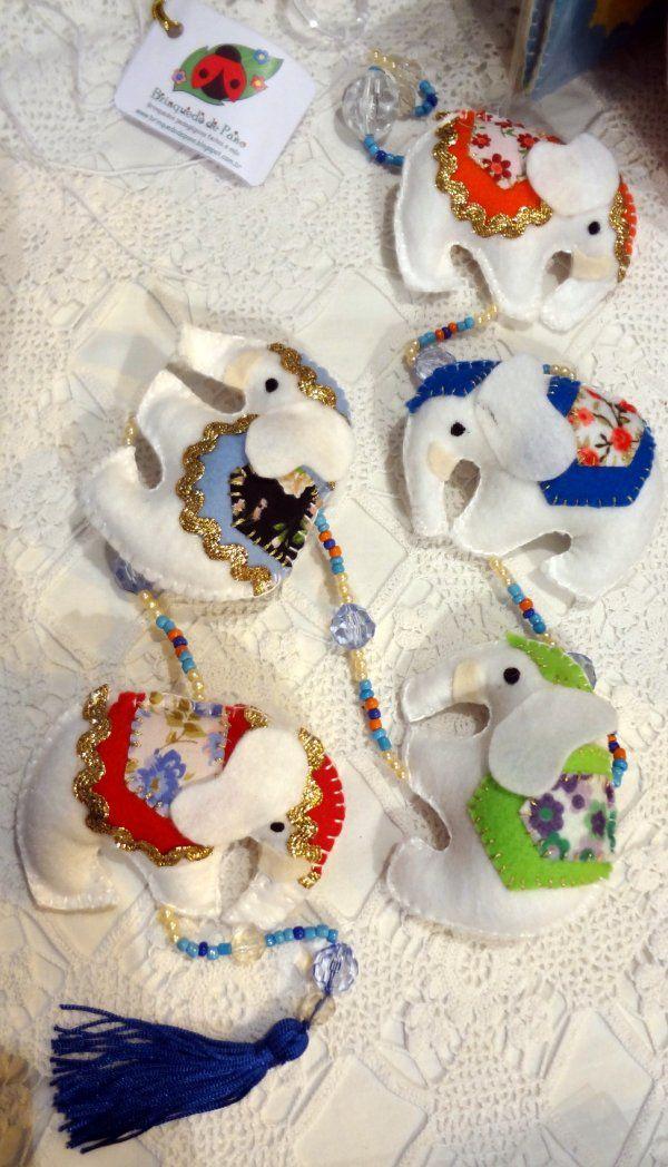 Brinquedo de Pano - Móbile decorativo Elefante Indiano Branco