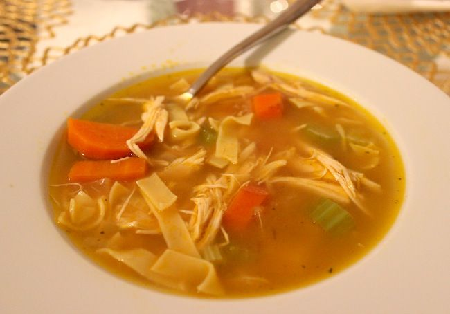 Chicken Noodle Soup: Reduced Sodium chicken broth, rotisserie chicken/chicken breast, egg noodles, carrots, celery, onion, parsley, thyme, pepper. Simmer in a pot on the stove until vegetables are translucent. Delicious!