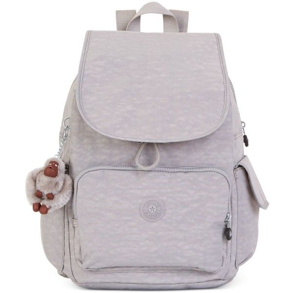 Kipling Ravier Backpack (£80) ❤ liked on Polyvore featuring bags, backpacks, slate grey, travel backpack, nylon bag, kipling, travel rucksack and backpacks bags