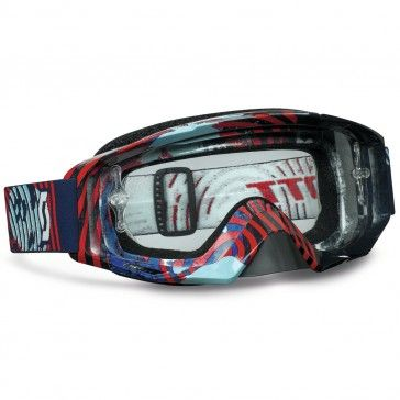Scott Tyrant Motocross Goggles Vinyl Blue / Red Clear Works MX Goggle Lens