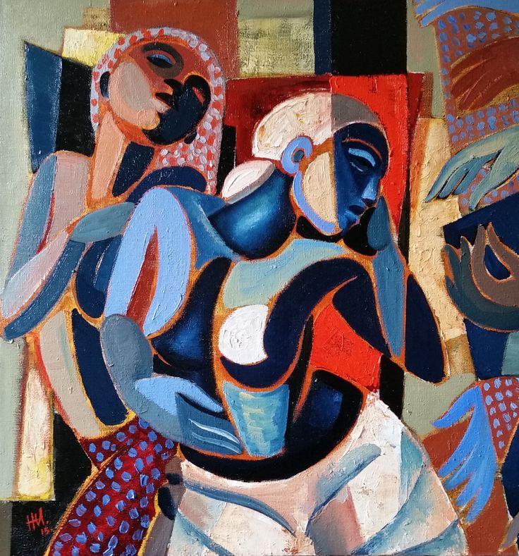 hennie niemann jnr,'the suitors' 81 x80 cm 2015