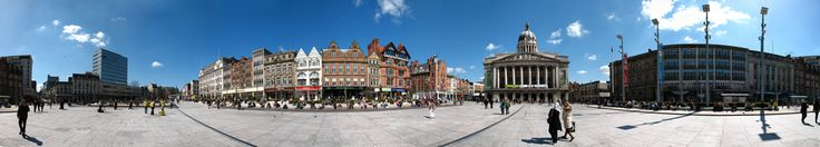 https://flic.kr/p/7Vhn5H | Market Square Panorama | A 360 degree panorama of Nottingham's Market Square.  It's not often that you can stand in the middle of the Market Square with fabulous blue skies above and not too many people around - so I took full advantage.  In total, this image is made-up of 40 individual pictures and is about 86 megapixels