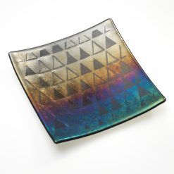 Fused glass Iridescent square platter with triangle pattern £55