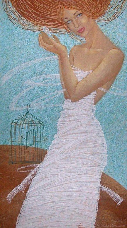 """""""O her şeyin mutlaka bir iz bırakacağına inanıyordu, izsiz şey olamazdı; kuşların bile izi vardı gökyüzünde, sözcüklerin dişte, bakışların gözde."""" (Hasan Ali Toptaş) (art by Ekaterina Abramova - Екатерина Абрамова) (https://www.facebook.com/yurekbali)"""
