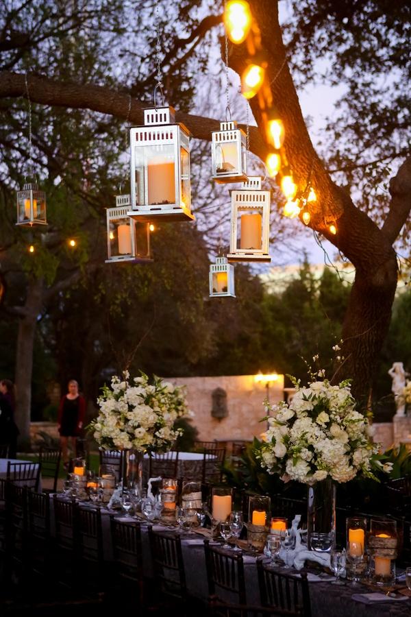 Lovely lanterns adorn the evening sky. {Kelli + Blake, Austin, TX wedding}