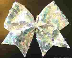 Ice Cubes Silver Holographic Squares Cheer Bow