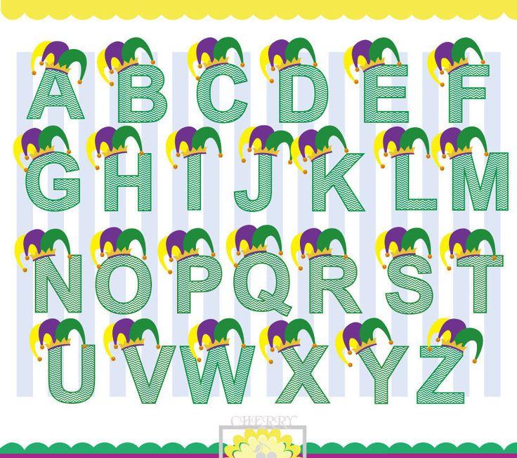 Mardi Gras Alphabet, Chevron Alphabet,Jester hat Alphabet ,Mardi Gras Mogram Silhouette & Cricut Cut Files MG001-Personal and Commercial Use by Cherryclipart on Etsy