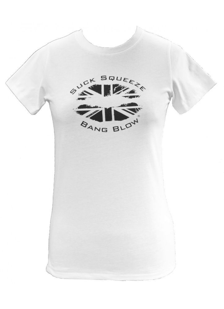 Ladies Oily Rag Suck Squeeze Bang Blow Kiss Motorcycle White T Shirt Size 12 Med