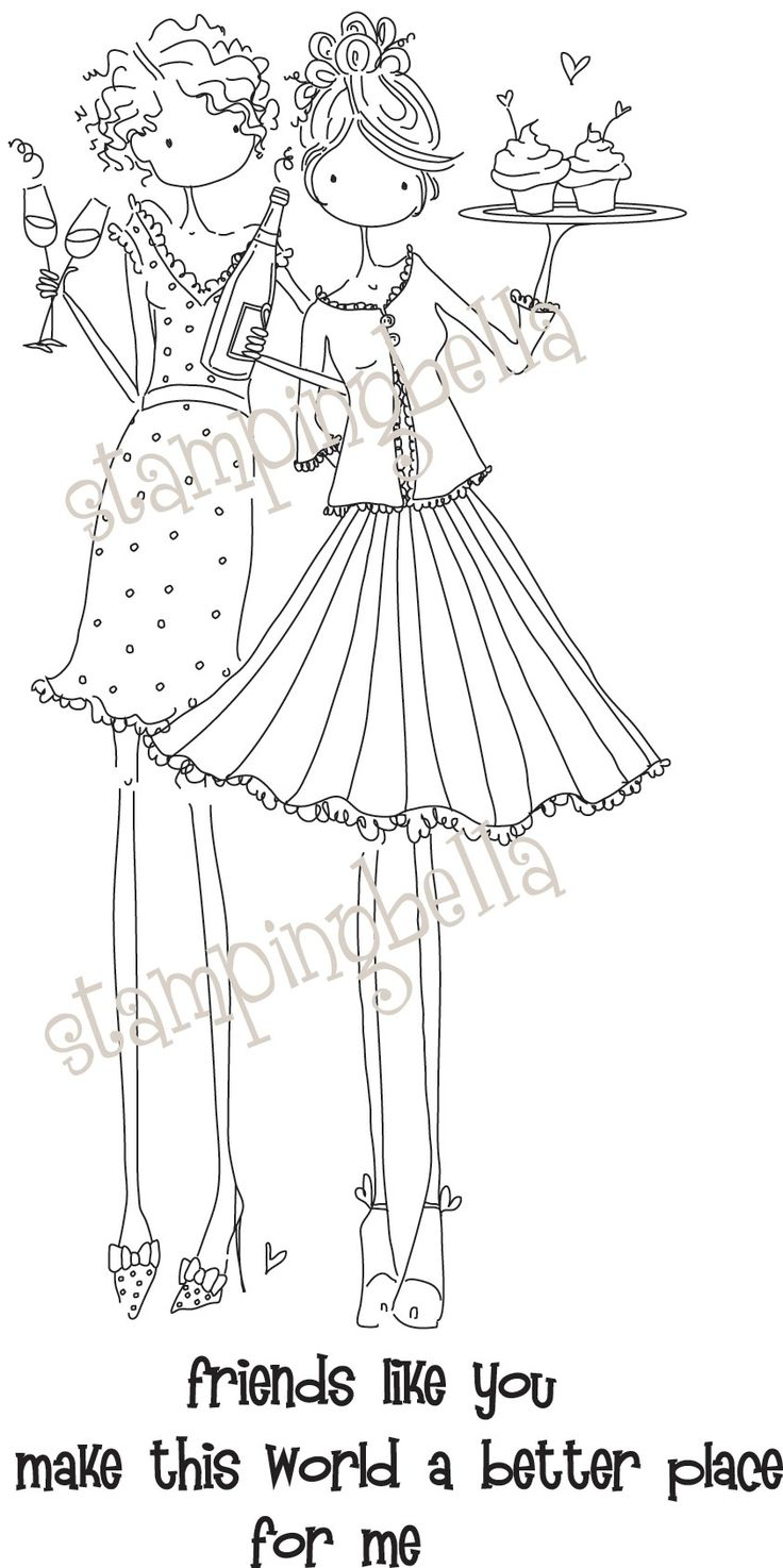 Uptown Girl Felicity and Blair Stamping Bella Unmounted Rubber Stamp EB211