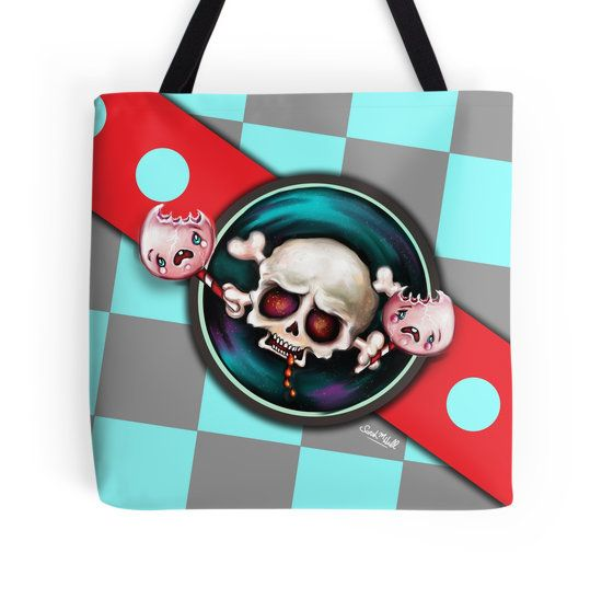 I had so much fun painting this one… A creepy, vampire skull with a sweet tooth is chomping on two tasty, screaming lollipops. It's horrifying and creepy and cute all rolled into one ;-) Can you tell I like horror and scary stuff, LoL… Link: http://sarahmwall.redbubble.com -  Hope you like it! ;-)  Sarah xoxo  Art & Illustration © Sarah M Wall 2017.  You can also follow my art & Merlin, my Great Pyrenees puppy, over at my Instagram account: http://instagram.com/TheArtofSarahMWall