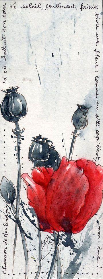 """Creation by Framboisine Berry -- """"Là où battait son coeur, le soleil, gentiment, faisait vivre une fleur : comme un p'tit coqu'licot, mon âme !."""" (Mouloudji - chanson) -- Poetry """"Where her heart beat, the sun, friendly, made live a flower: as a small poppy, my soul !"""" (Mouloudji - French singer)"""