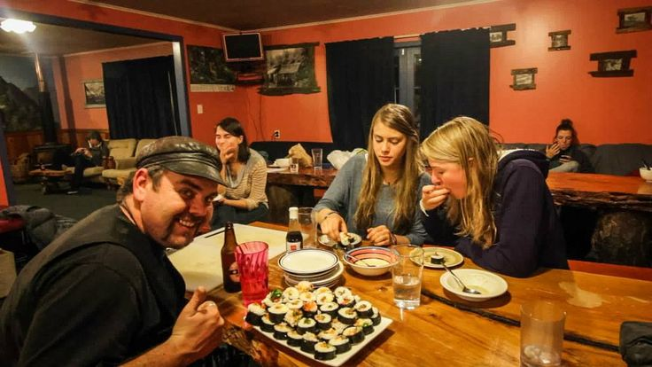 Wednesday nights are free sushi nights! Glow Worm Cottages, Franz Josef, New Zealand