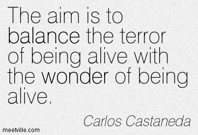 The aim is to balance the terror of being alive with the wonder of being alive.                                                                                                                                                                                 More