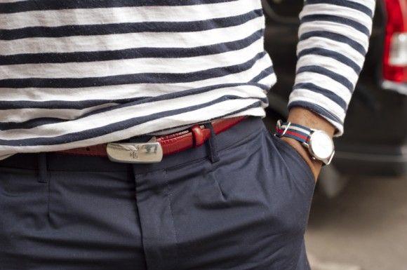 Stripes, belt, watch