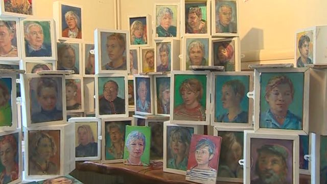 An artist is painting the portrait of every resident in the city where he lives, St David's in Pembrokeshire.