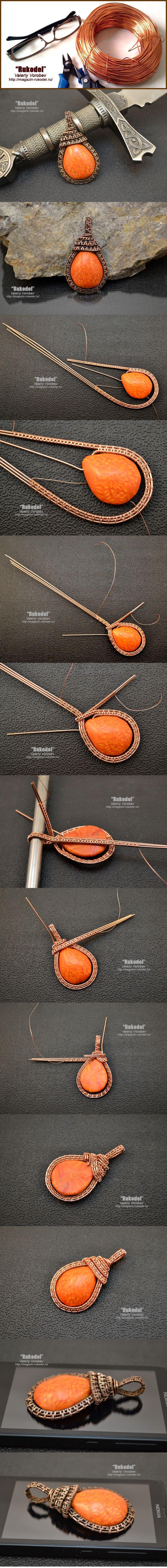 Кулон из полимерной глины и проволоки. Wire Wrap Pendant.   Рукодел