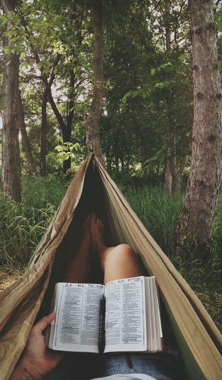 One of my happy places: Reading in a hammock.