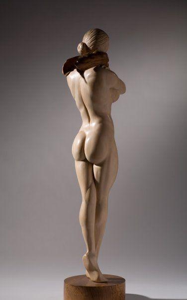 James McLoughlin wood sculpture Female Figure back