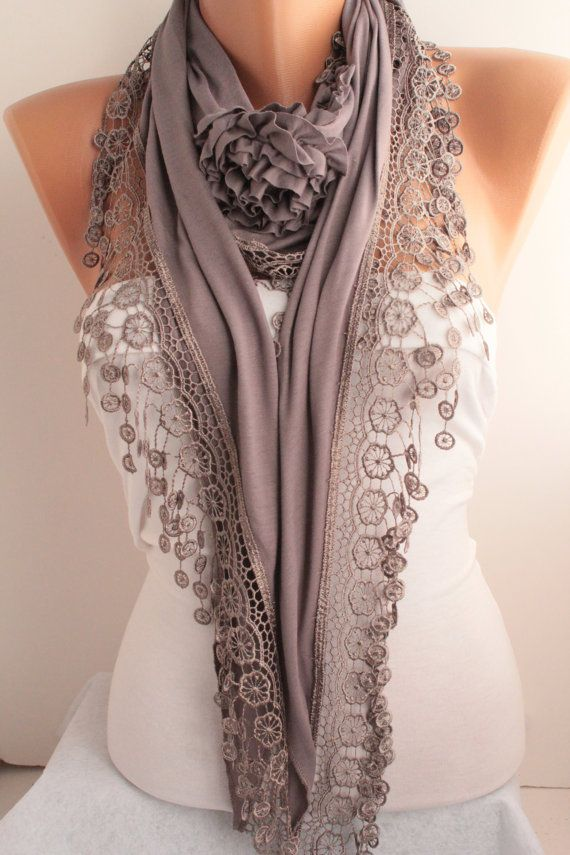 Grey Jersey Rose Shawl/ Scarf - Lace Scarf Headband -Cowl with Lace Edge-  Christmas Gift