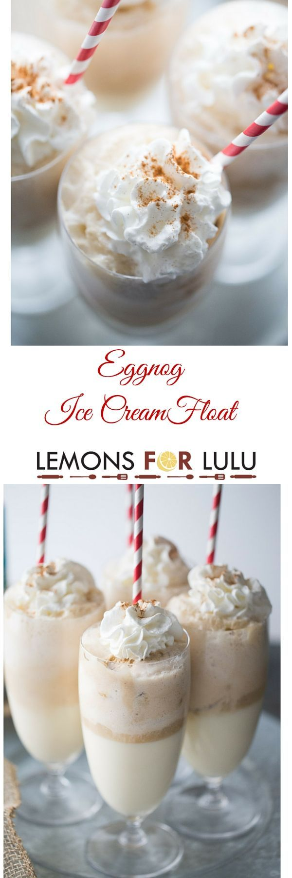 Cinnamon ice cream is mixed with creamy eggnog and topped with ginger ale in this easy ice cream treat! This ice cream float is a nice change from your ordinary eggnog drink recipe, it's a fun holiday sweet that is fun for all ages! lemonsforlulu.com