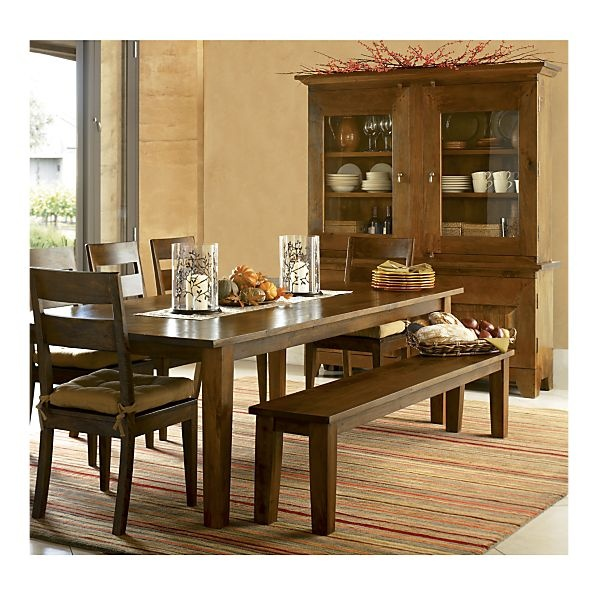 Crate & Barrel Farmhouse Dining Table with Bench and Ladderback Chairs and a Hutch to go with it.