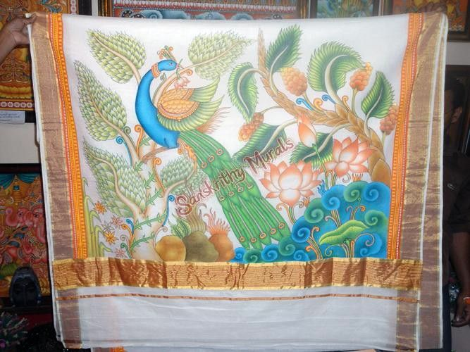 17 best images about kerala mural painted sarees on for Asha mural painting guruvayur