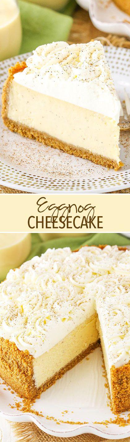 Eggnog Cheesecake - perfect cheesecake for the holidays! #dessert #housewarming?