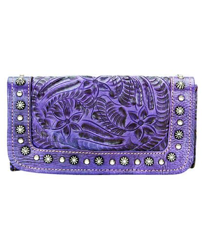 Women's Forget-Me-Not Tri-Fold Wallet - Distressed Amethyst