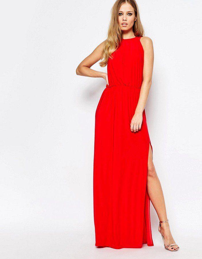 Robe longue rouge femme