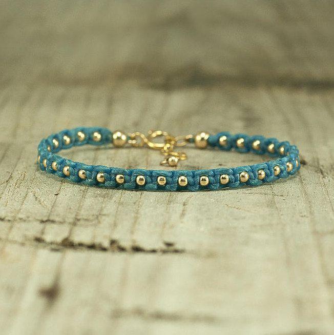 Gold Beaded Bracelet,Turquoise bracelet, handmade string bracelet,stack bracelets,summer jewelry,jewelry for her,arm candy,boho,macrame,chic by FreebirdBracelets on Etsy