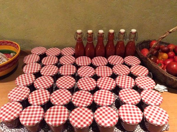 """Wer im Garten oder aus dem Topf an Tomatenüberschuss """"leidet"""", kann sich, neben vorgekochter und eingemachter Tomatensoße, zum Beispiel auch seinen eigenen Ketchup machen. Das ist so einfach wie genial, frei von Zusatzstoffen, enthält viel weniger Zucker als gekaufter Ketchup und man kann ihn ganz nach Gusto variieren. Er eignet sich zu allem Möglichen und ist mit gekauftem Tomatenketchup über ..."""
